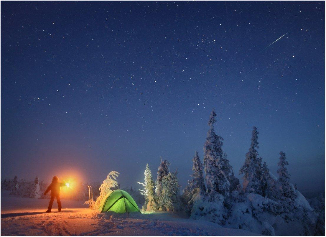пейзаж, природа, урал, зима, горы, снег, ночь, звезды, новый год, Бродяга с севера