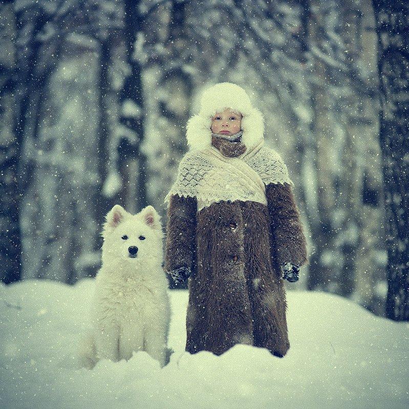 мальчик, собака, самоед, снег, лес, шуба, зима, дружба, холод, Владимир Зотов