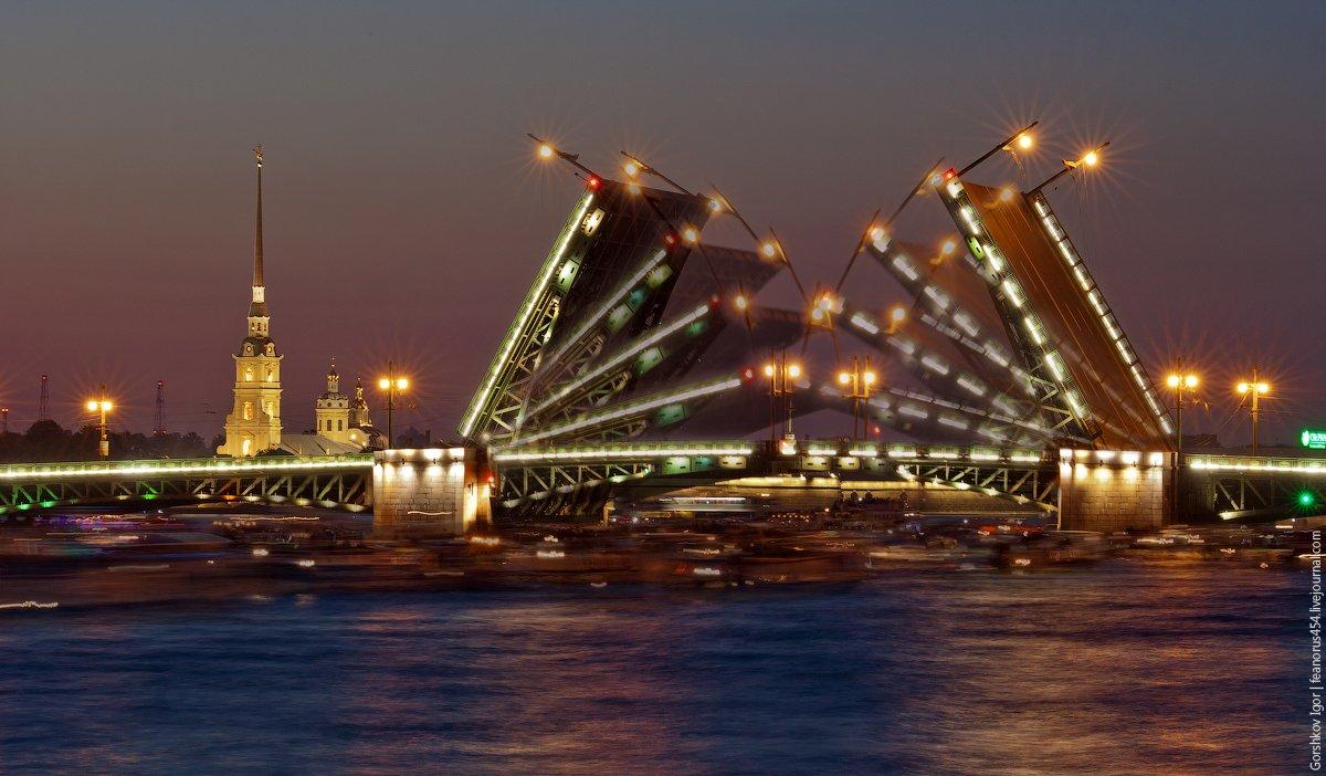 фото дворцового моста развод