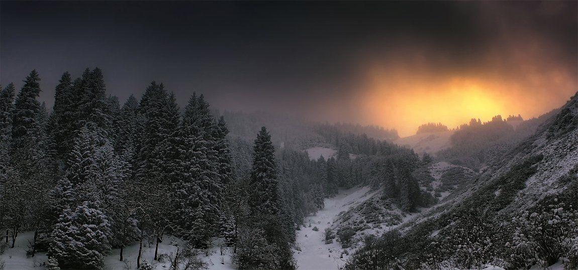 закат,горы,зима, SkorovS