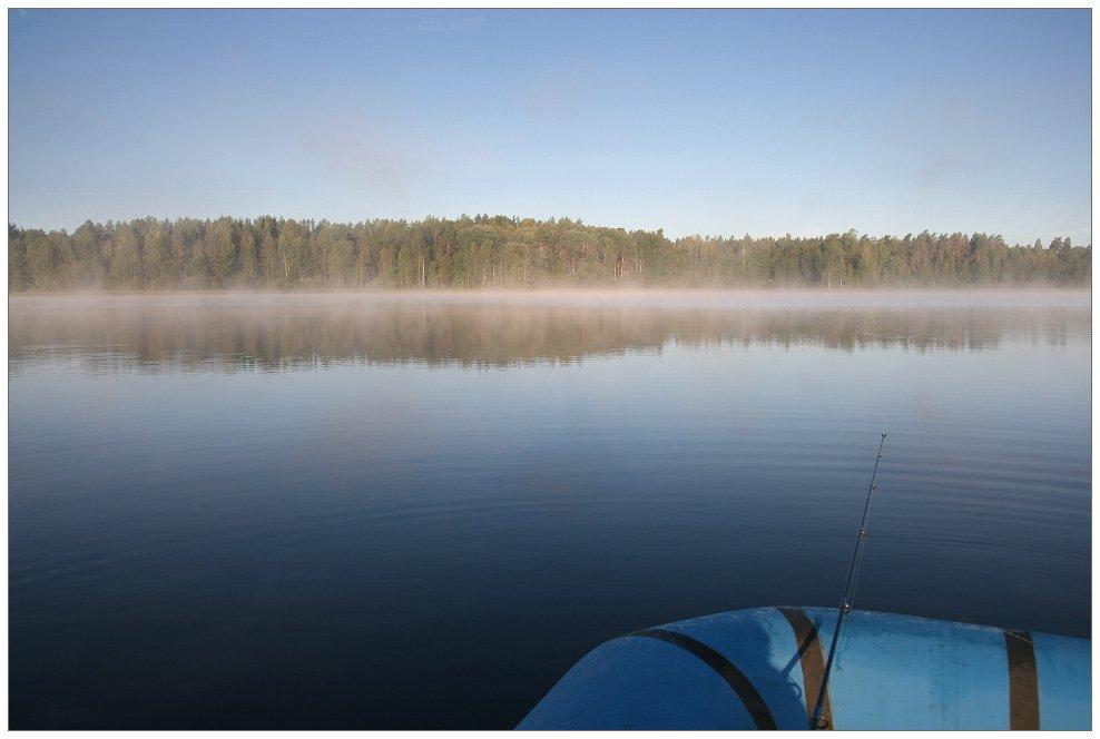 утро, туман, лодка, озеро, селигер, Алексей Самарин