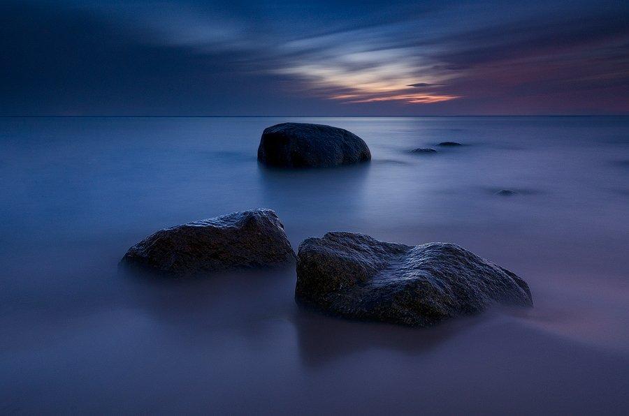 балтика, ночь, море, камни, пейзаж, Дмитрий Бойко