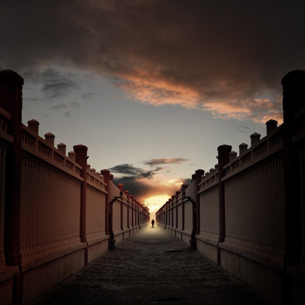 walls,stone,brick,man,sky,light,clouds,walking,alone, Caras Ionut