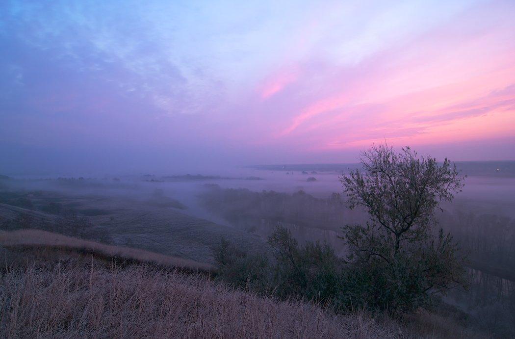 рассвет, осень, речка, туман., sa56