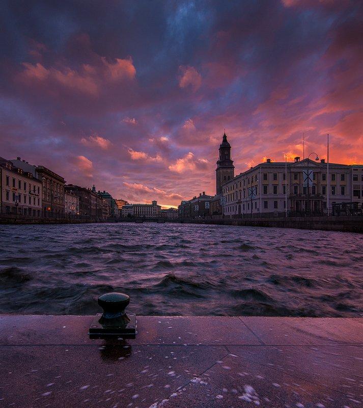 швеция, город, панорама, вечер, Дмитрий Бойко