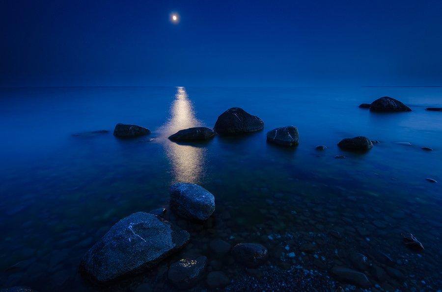 ночь, море, полнолуние, балтика, пейзаж, Дмитрий Бойко
