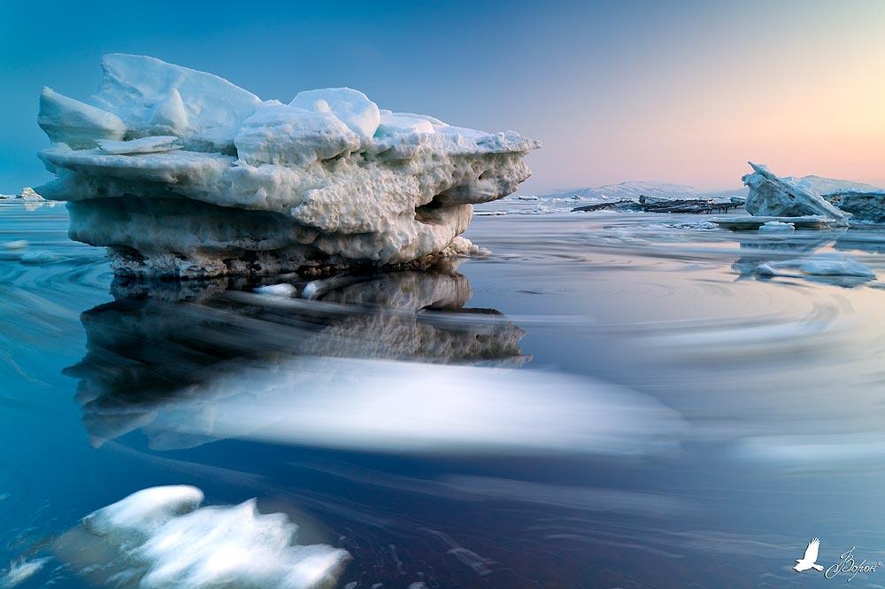 лёд, море, вода, отражение, вечер, закат, прилив, Ворон