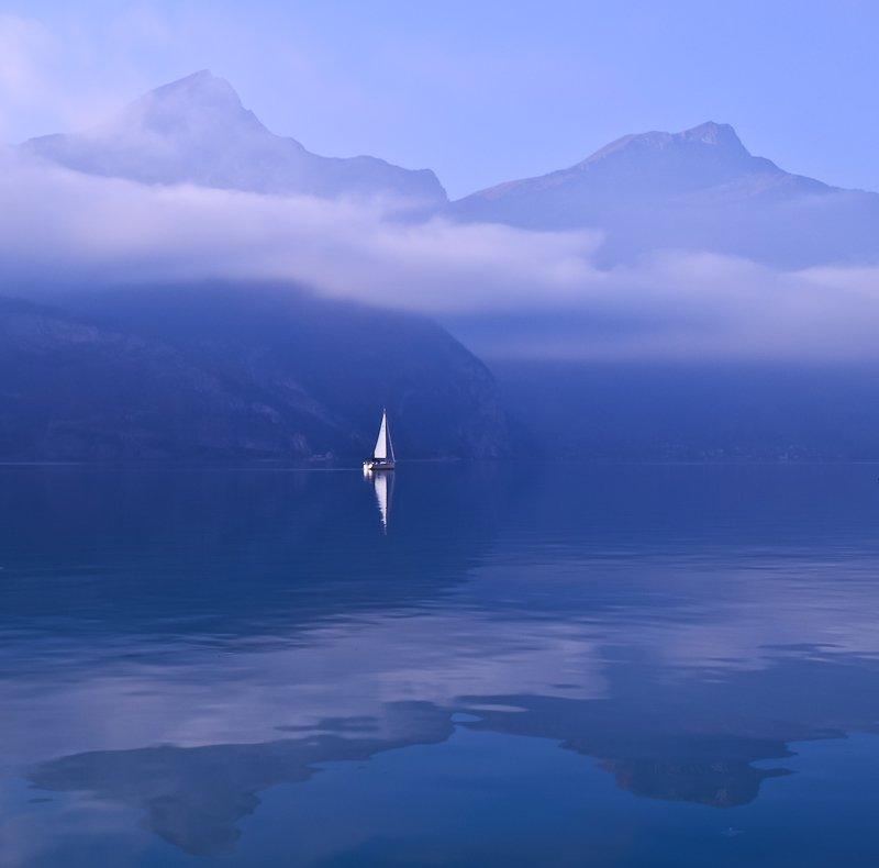 отражения., озеро., горы., яхта., швейцария, Marina Patzen