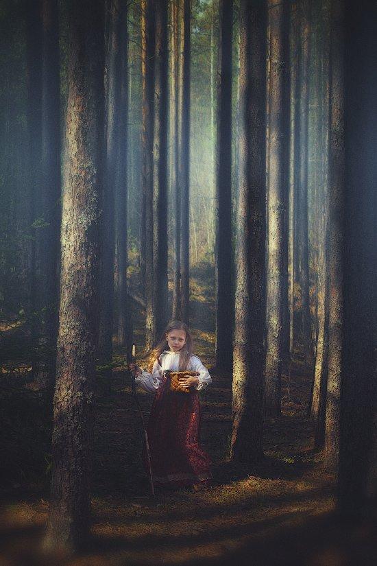 лес, девочка, история, сказка, дерево, корзинка, ягоды, посох, одежда, русская, dyadyavasya, Дмитрий dyadyavasya  Шамин