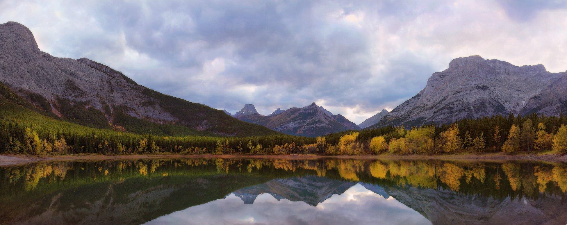 канада, скалистые горы, озеро, осень, отражения, панорама, Екатерина Богданова