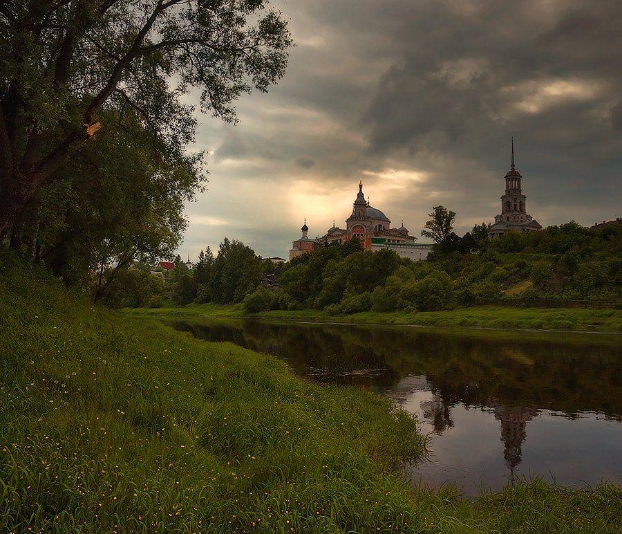 старина, торжок, пейзаж, река, вечер, Oleg Dmitriev