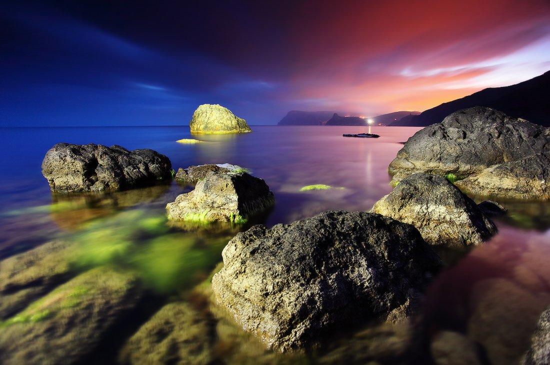 крым, море, черное, камни, вода, закат, свет украина, Leonid Tit