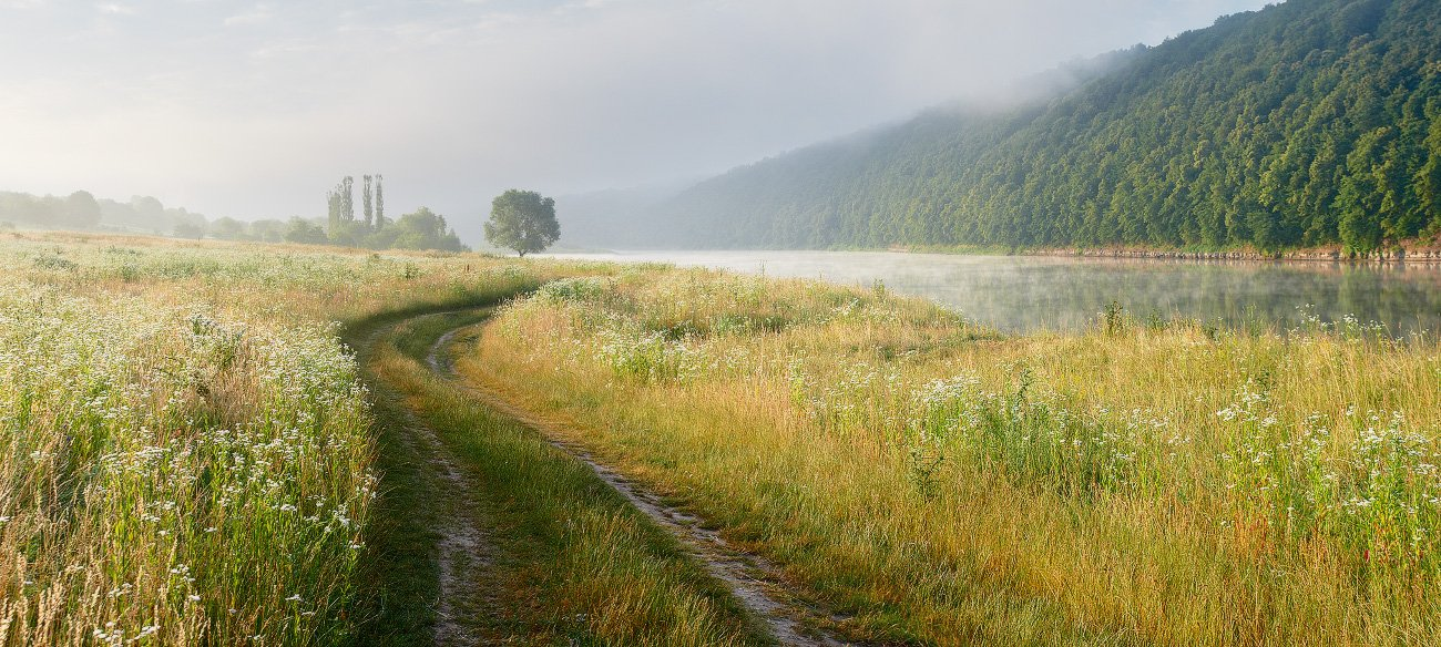 утро, днестр, река, рассвет, дорога, украина, Leonid Tit