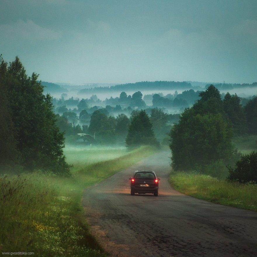 туман, сумерки, холмы, после заката, Гвоздицкий Алексей