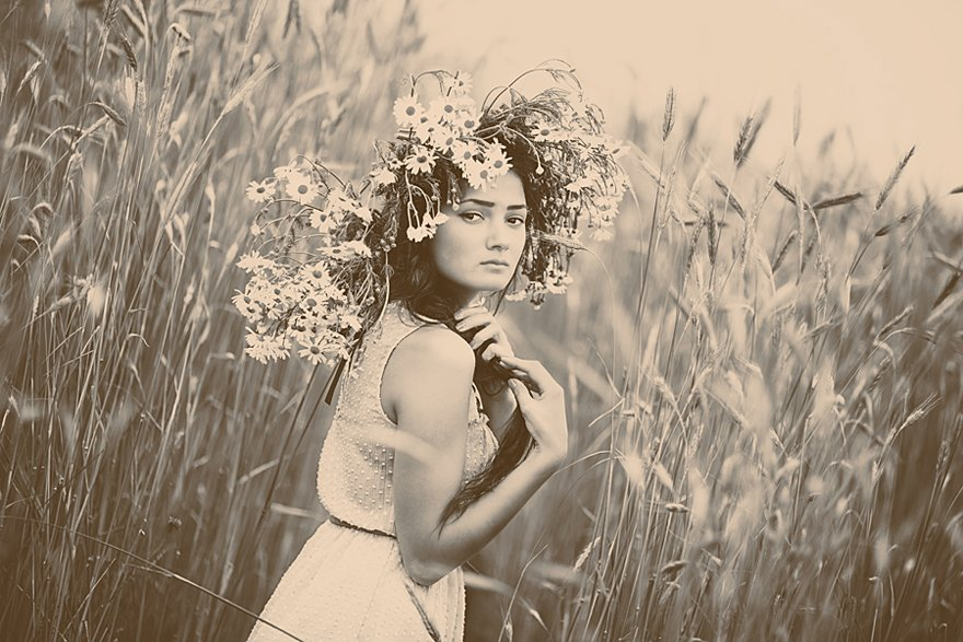портрет,девушка,поле,цветы,лето, Мария