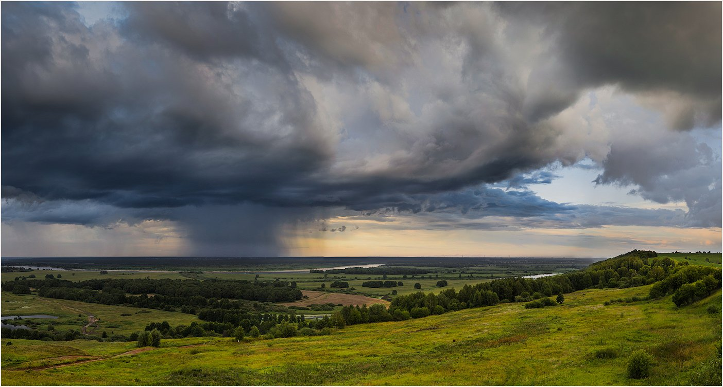 Clouds, Landscape, Nature, Panorama, Rain, Russia, Sky, Дождь, Небо, Облака, Облако, Панорама, Пейзаж, Природа, Россия, Andrey Zolotnitsyn