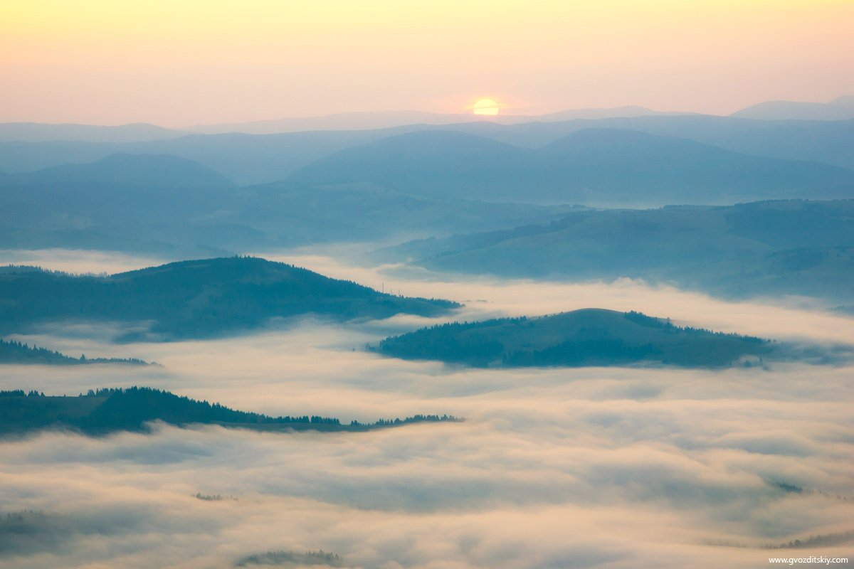 карпаты, утро, рассвет, туман, горы, солнце, Гвоздицкий Алексей