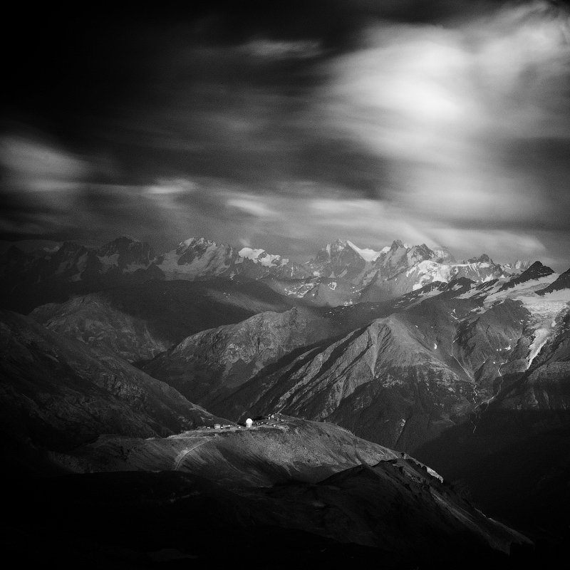 clouds, elbrus, evening, exposure, long, mountains, Павел Хлыпенко