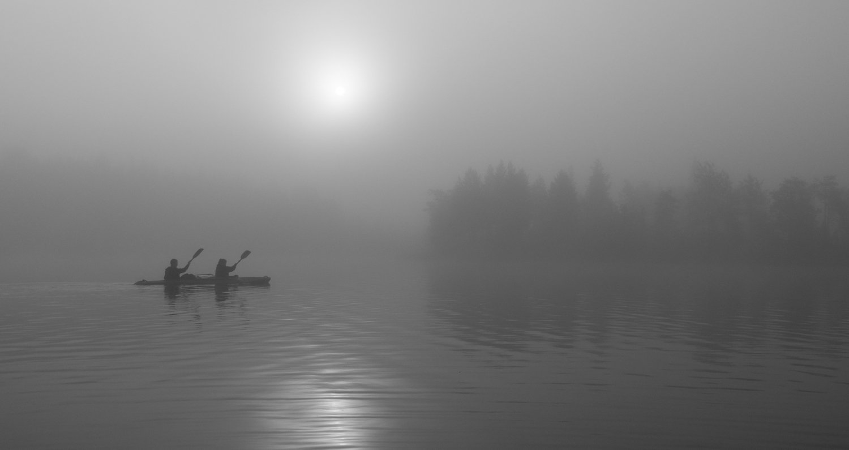байдарка, туман, озеро, карелия, рассвет, Динара