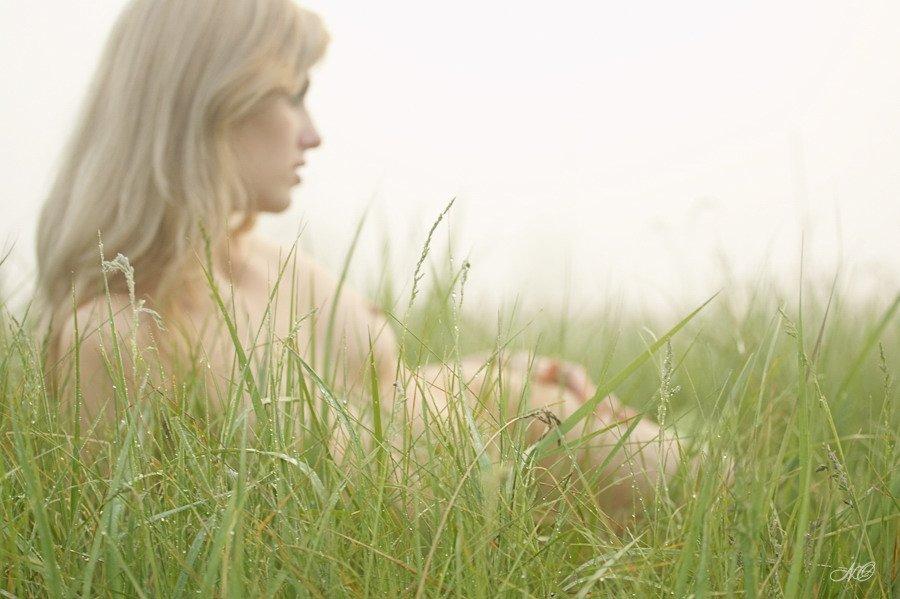 девушка, роса, трава, утро, туман, NO