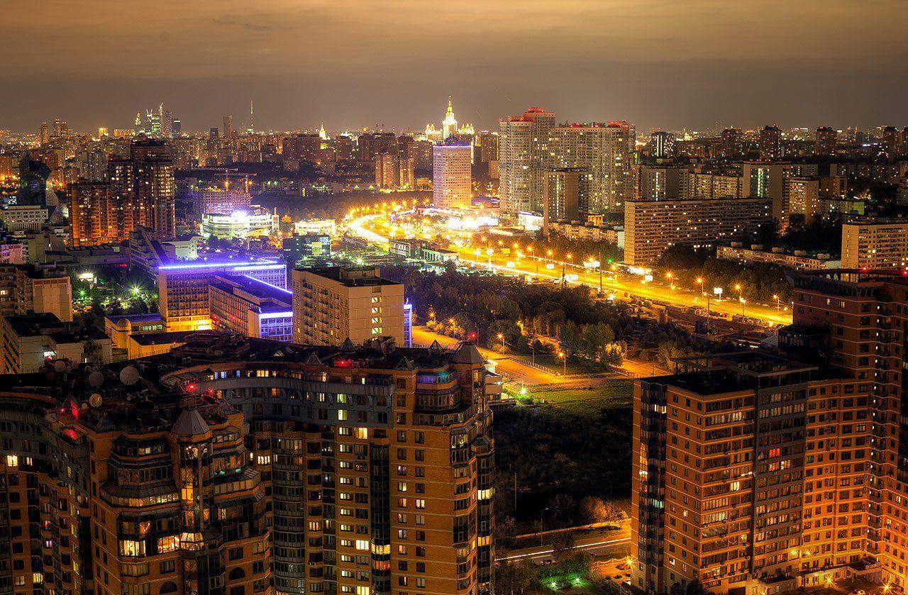 москва, крыша, крыши, вернадского, тропарёво, корона, миракс, город, ночь, Kremchik