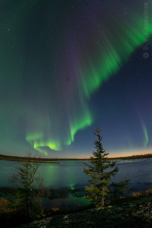 aurora borealis, северное сияние, север, ночной пейзаж,, den-sau-pin