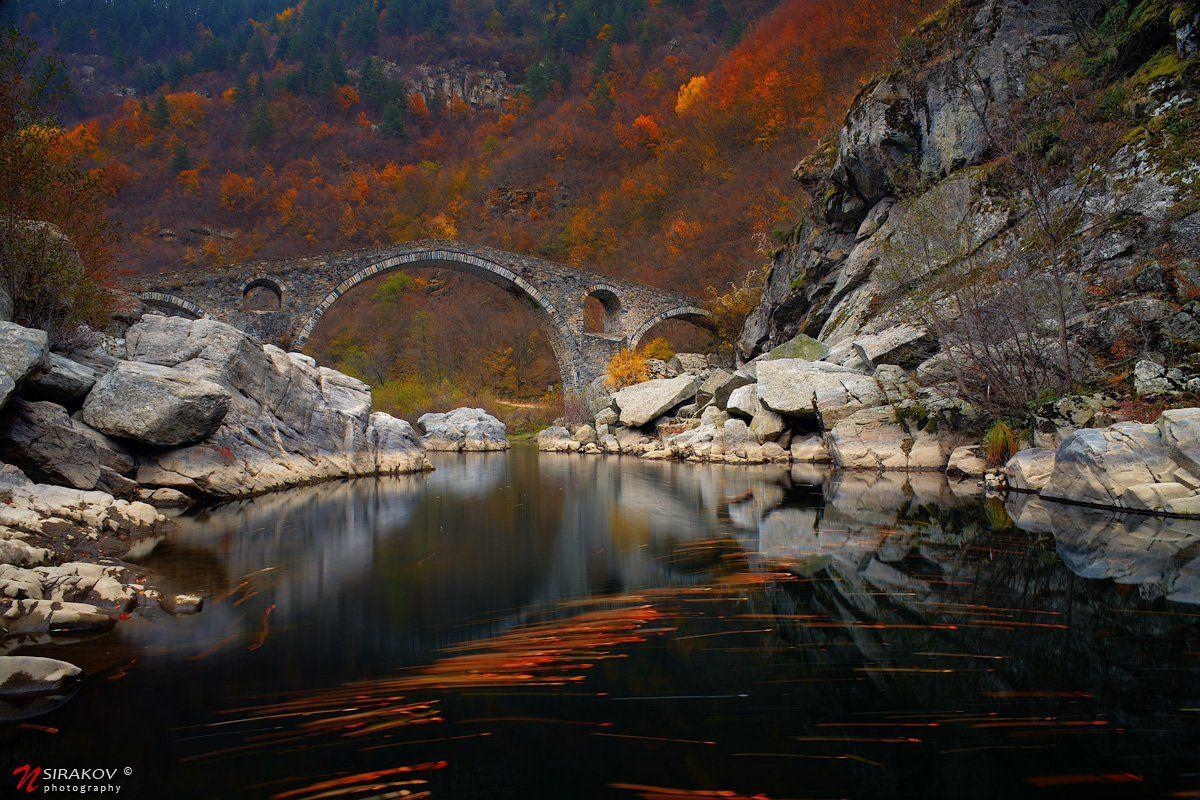 landscape, bridge, autumn, tears, leaves, water, river, mountain, forest, colors, bulgaria, ardino, nsirakov, Nikolay Sirakov