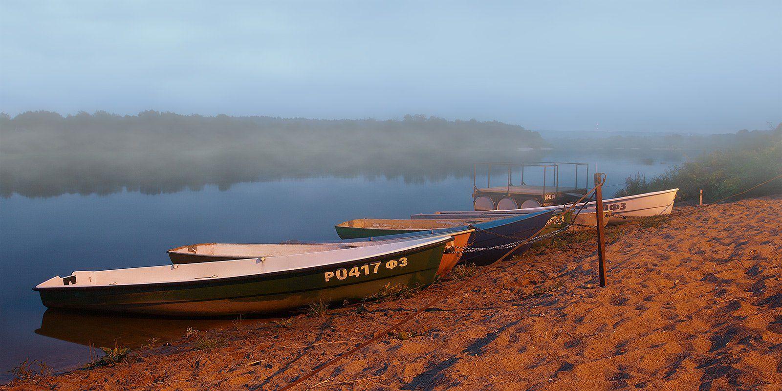 лодки, река, утро, Oleg