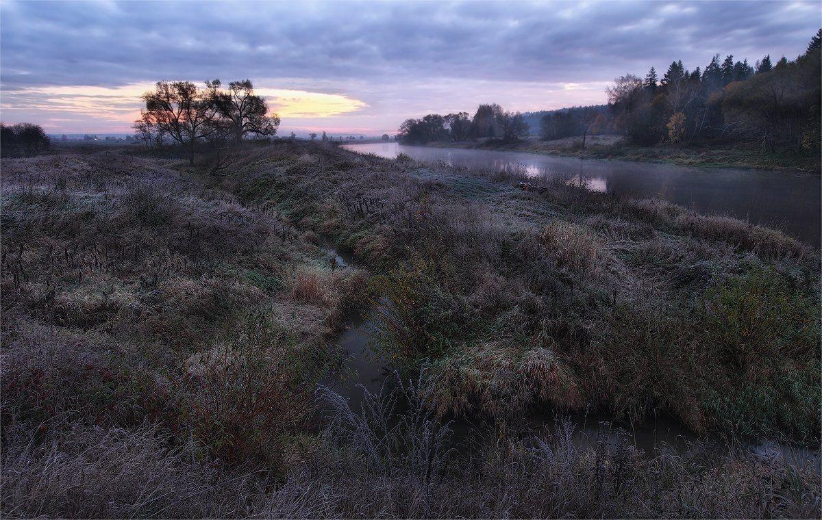 река, утро, иней, Сергей