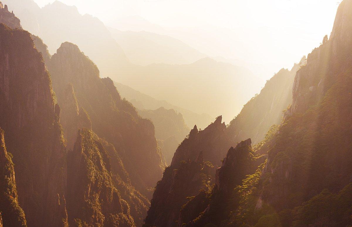 sunset, huangshan, china, mountain, Сергей Кузнецов