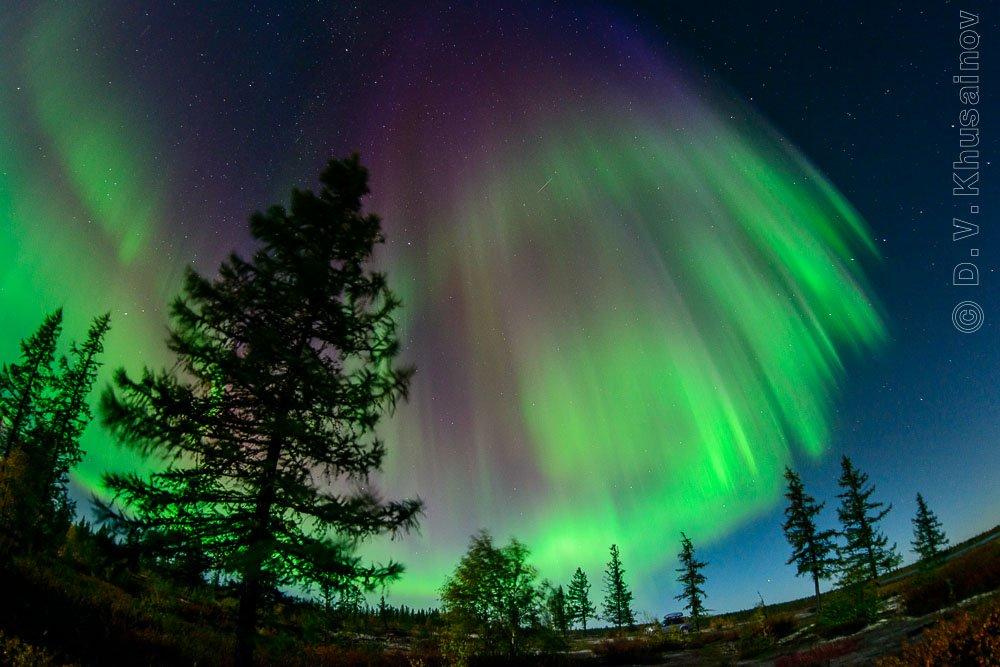aurora borealis ,  северное сияние,   север,   ночной пейзаж, den-sau-pin