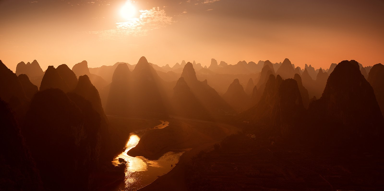 china, guilin, xingping, li, river, carst, mountains, sunset, Сергей Кузнецов