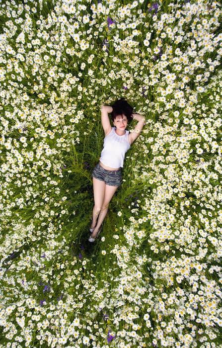 ромашки, лето, поле, девушка, Марк