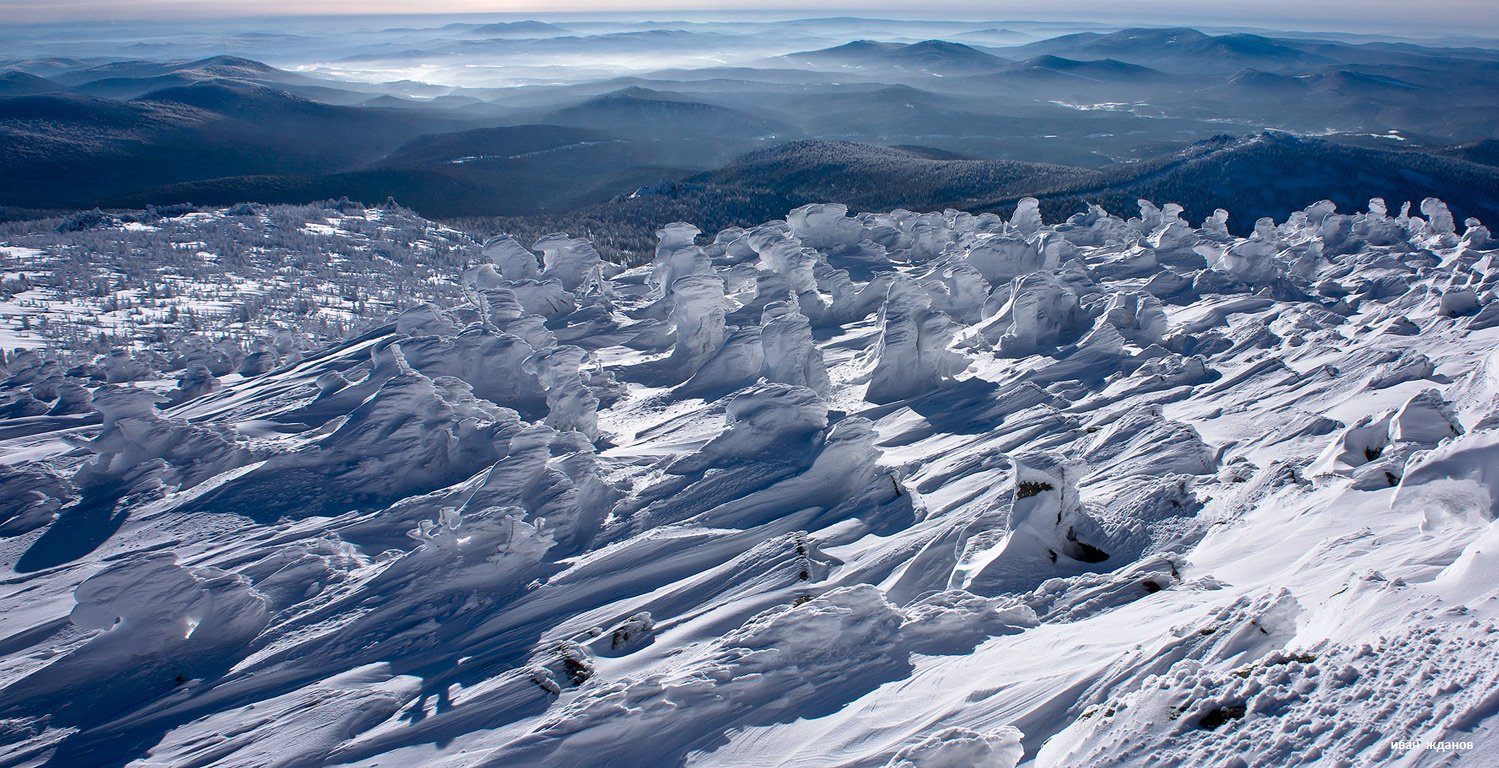 горы, шерегеш, горная шория, зима, сибирь, солнце, снеговики, Иван Жданов