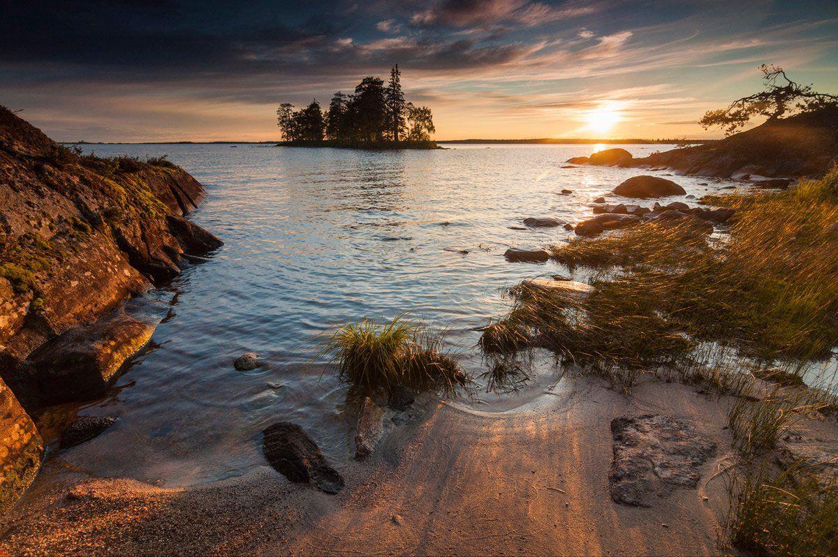карелия, энгозеро, закат, остров, озеро, север, природа, пейзаж, Динара