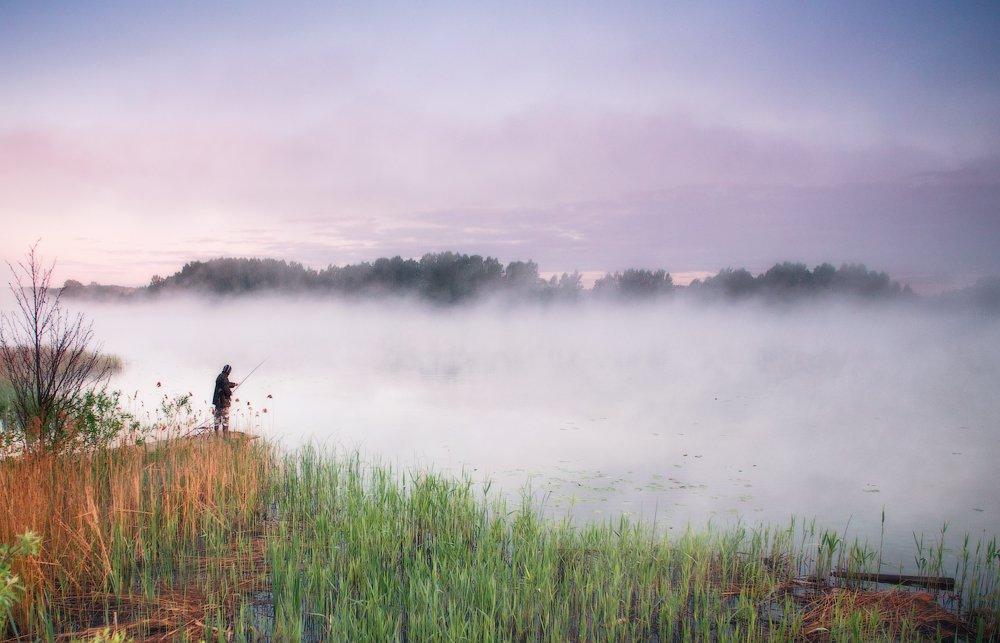 утро, рассвет, рыбак, туман, Андрей Радюк