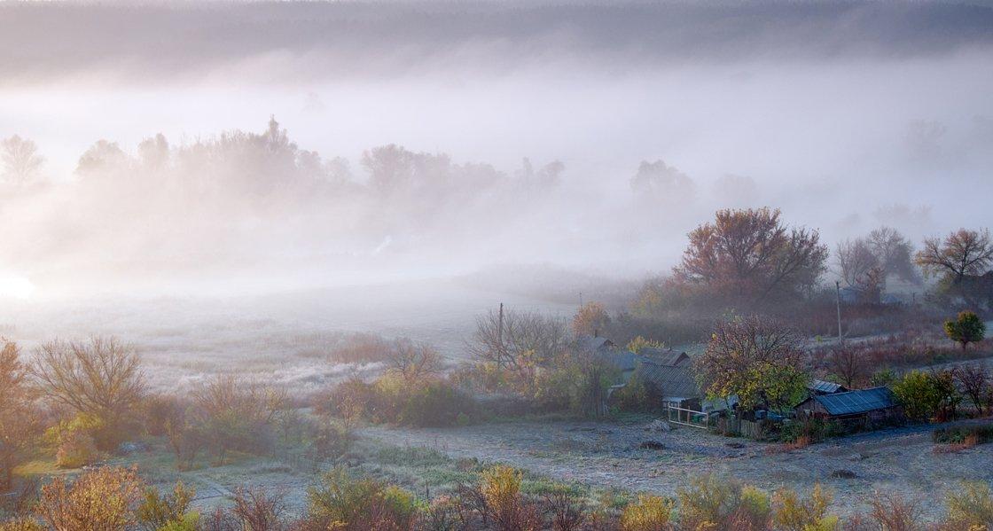 осень, рассвет, туман, sa56