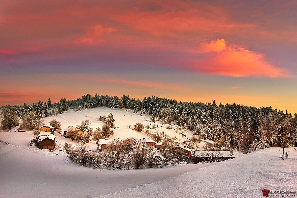 bulgaria, avramovo, sunset, landscape, snow, winter, clouds, pink, blue, nsirakov, Nikolay Sirakov