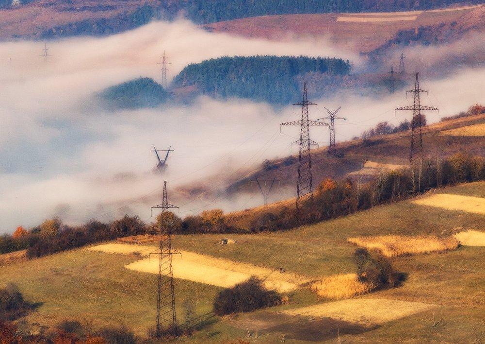 карпаты, осень, утро, свет, лэп, туман, Андрей Радюк