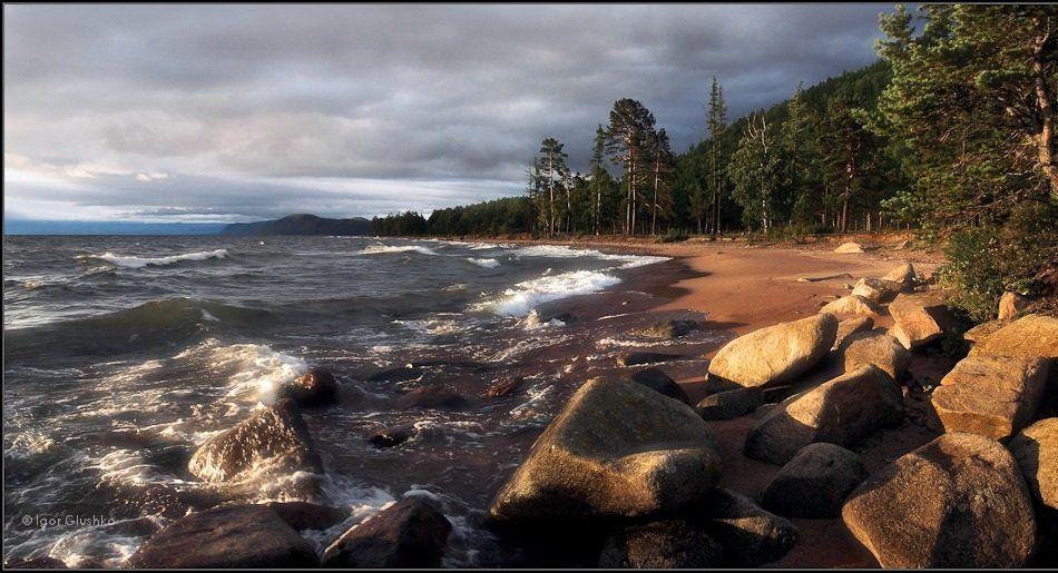 бурятия, байкал, шторм, берег, волны, август, Igor Glushko
