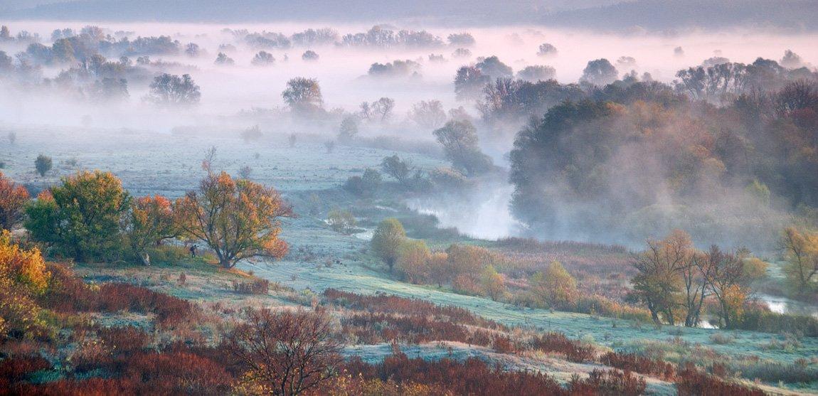 осень, туман, речка , фотограф - пейзажист, sa56
