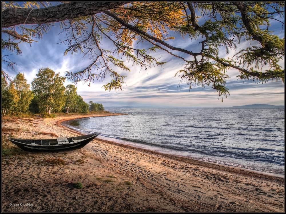 байкал, берег, лодка, осень, Igor Glushko