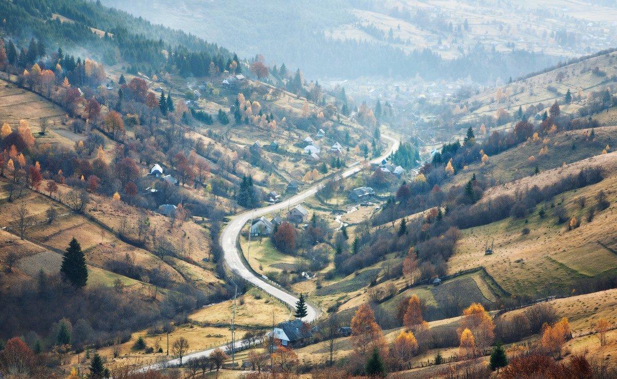 карпаты, утро, деревня, дорога, Андрей Радюк