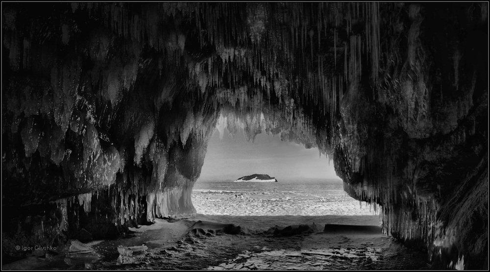байкал, грот, остров, зима, сосульки, лед, Igor Glushko