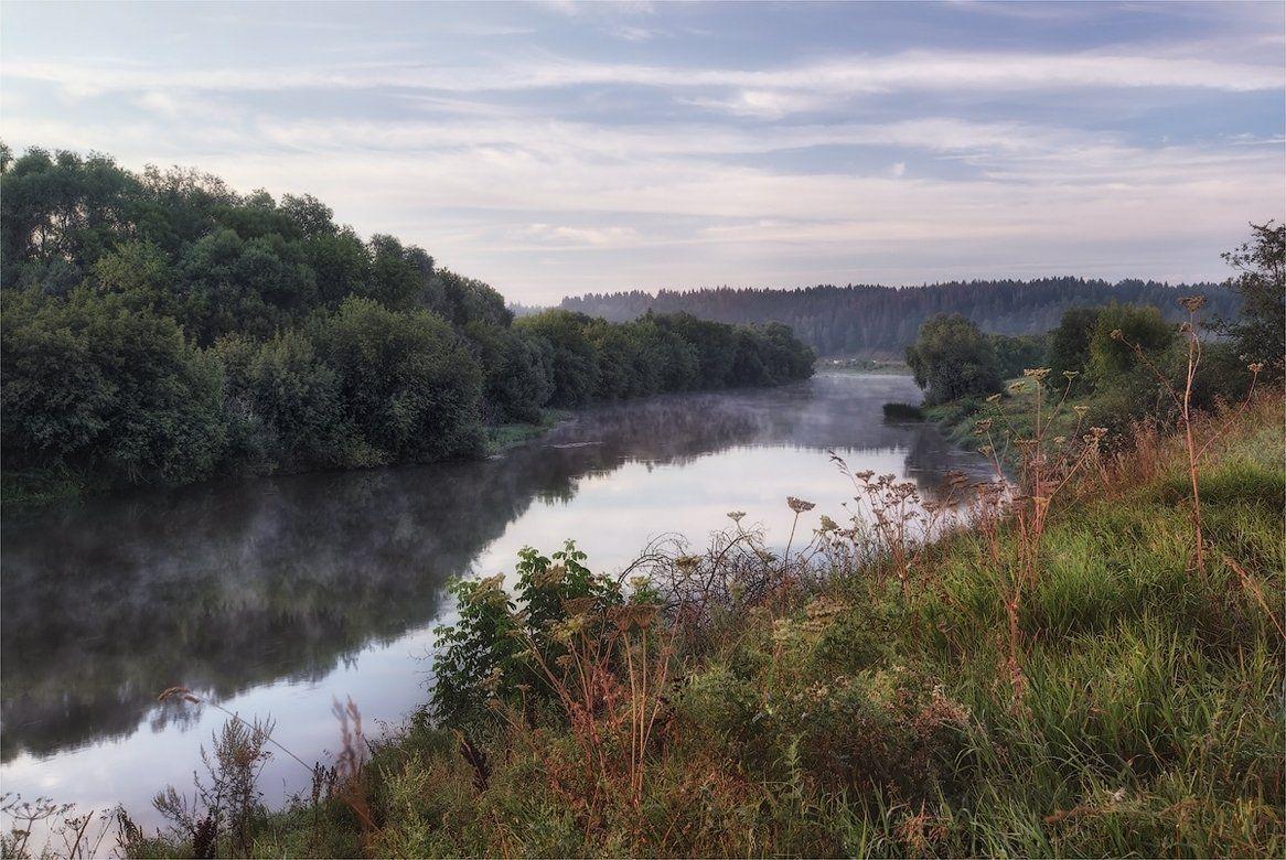 река, утро, лето, Сергей