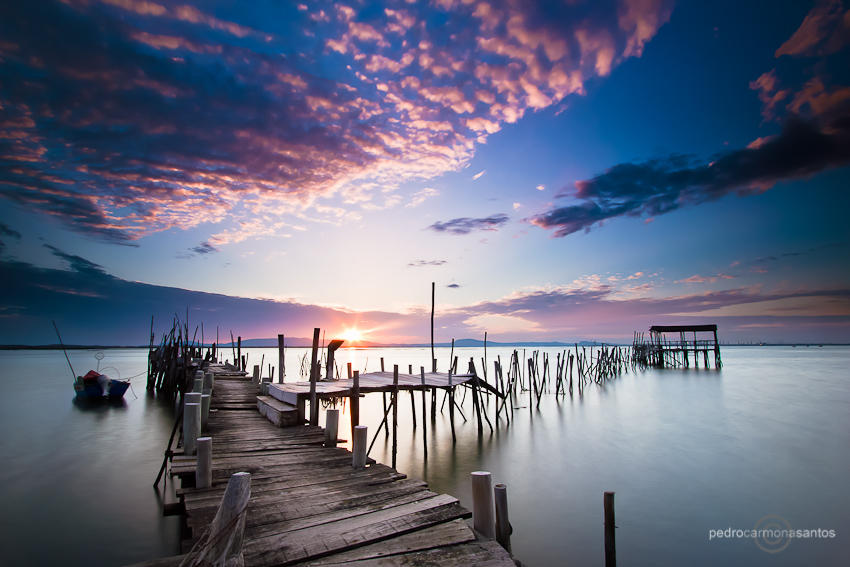 """Carrasqueira sunset"", at the old dock at Carrasqueira, along the Sado estuary (near Comporta, Portugal), used for manu years by local fisherman.  Visit me at (Посетите меня на)  http://www.pedrocarmonasantos.com/"