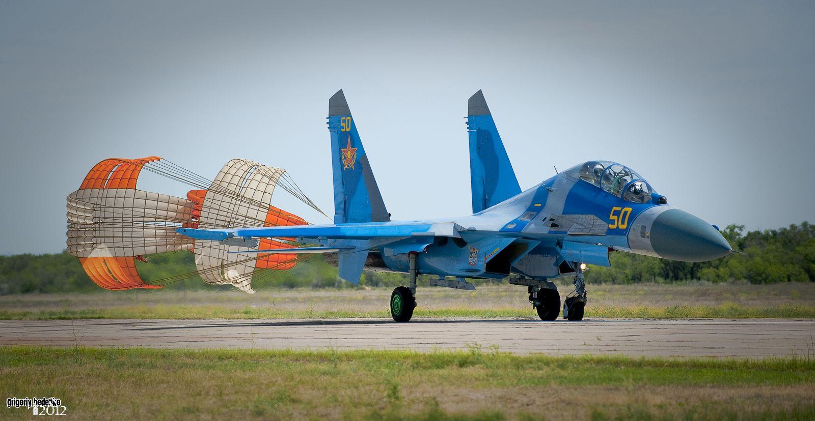 Посадка Су-27 УБМ 2.