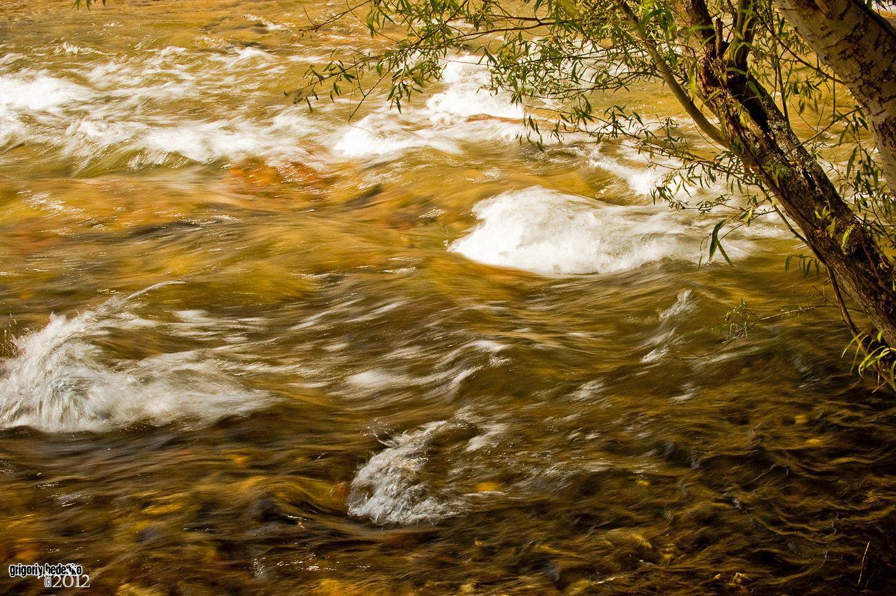 Речушка с необычным цветом воды из-за особых донных отложений - водоросли, очевидно, богаты солями йода.