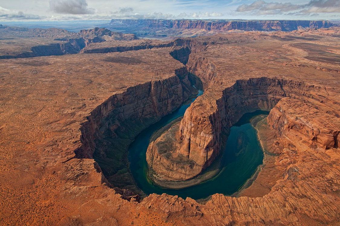 ∞ | Horseshoe Bend of Colorado River, USA, Arizona. Aerial Panorama