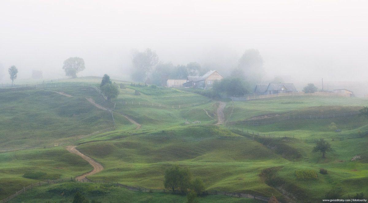 Интересны склоны и утром, укутанные туманом